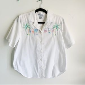 Vintage White Embroidered Button Down Grandma